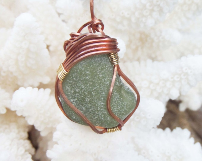 Sea Glass Necklace with French Sea Glass - Green Sea Glass Jewelry  Wire Wrapped Gift for Women - Bonjour Sea Glass by Goofy Moose