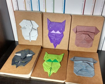Small Kraft Notebooks with Origami Animal Design
