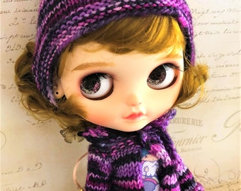 Knitted Pixie Hat and Cardigan Set in Fuchsia Pink Purple Black for a Blythe Doll custom