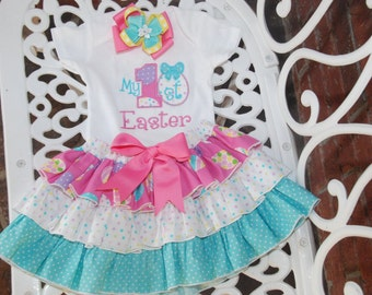 My First Easter Outfit! Baby Girl First Easter Outfit! Easter Egg Applique Shirt, Ruffle Skirt, and Hair Bow! First Easter Outfit/1st Easter