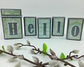 Hello Wood Blocks - Mint/Gray