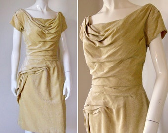 Vintage 1950s Gold Metallic Bombshell Dress w/Incredible Ruching Detail