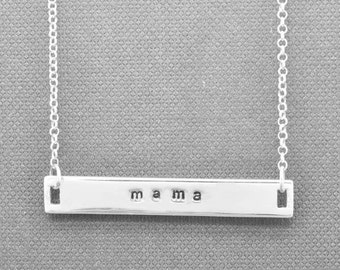 Bar Necklace, Mothers day, Personalized necklace, Name Bar Necklace, Engraved, initial, ID Necklace, identity, custom, message, gift