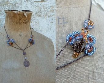 PEACOCKS French handmade beaded necklace