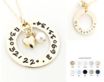 DOUBLE SIDED Gold Filled Latitude Longitude Necklace - Hand Stamped, Personalized Custom Coordinate Jewelry, Heart & Pearl Location GPS Gift