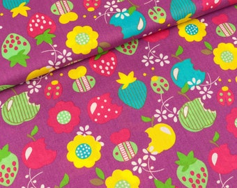 Cotton fabric Orchard Colorful on purple (9.40 EUR/meter)