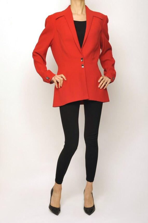 Thierry Mugler 1980's Avant-garde Red Long Jacket