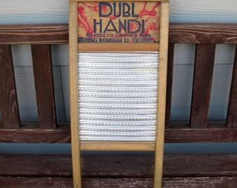 Dubl Handi Wash Board -Silks -Hosiery -Lingerie -Handkerchiefs -Columbus Washboard Co - Small Washboard -farmhouse chic decor -advertising