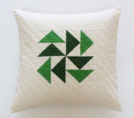 Green Quilted Flying Geese Farmhouse Pillow