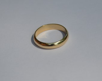 Male Wedding band- Simple 14kt Yellow Gold 4mm Domed Wedding Band