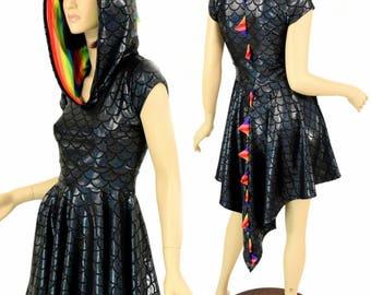Black Dragon Scale Cap Sleeve Hoodie Skater Dress with Dragon Tail Hemline, Rainbow Stripe Spikes & Hood Liner 154905
