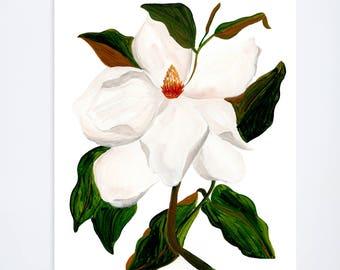 Magnolia - Floral Print - 8 x 10 - Watercolor - Illustration - Art Print
