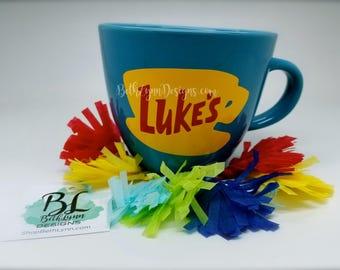 Blue ORIGINAL Luke's Diner Mug | Big Mug | Lukes mug | Lukes Diner | Gilmore Girls | Inspired | VINYL decal logo BOTH sides | Stoneware