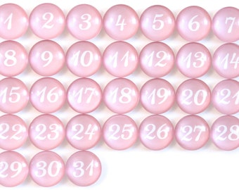 31 Pretty Pink Calendar Number Glass Magnets