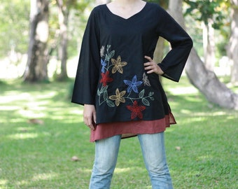 SALE 40% OFF--B069--Destiny2  (Cotton blouse with flowers embroidery)
