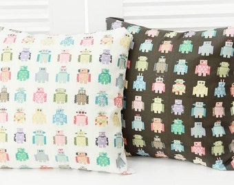 Robots in Line Cotton Fabric - Ivory or Brown - By the Yard 45117