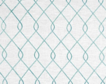 "Two  96"" x 50""  Custom Curtain Panels - Duralee  Embroidered Rico - Aqua"
