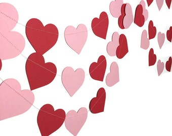 Party Decorations - Wedding Decor - Valentine's Day Garland - Heart Decorations - Red Pink Heart Garland - Hearts Paper Garland - 10 Feet