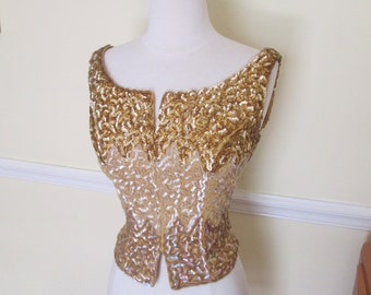 Dazzling Vintage 1950s 50s Gold and Iridescent Gradient Sequined Soutache Top Blouse -Pinup-Bombshell-Vixen-VLV-Party-Burlesque-Hollywood-