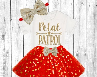Petal Patrol. Flower Girl Shirt. Flower Girl Outfit. Flower Girl Tutu Outfit. ** In Red and Gold **