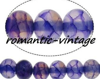 DRAGON vein AGATE: 30 natural semi precious purple 6mm beads