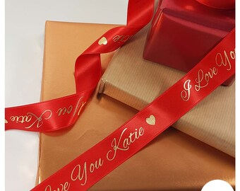 Valentines Ribbon Personalised Printed Ribbon - Gift For Him - Boyfriend- Husband - Gift For Her - Girlfriend Wife Valentines Day 10 15 25mm