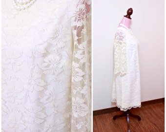 Vintage 1960s Dress / Lace Sheath / Cream and Silver / Sheer Sleeves