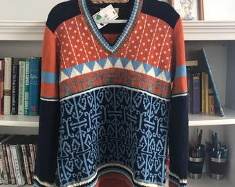 Vntg Anne Cossins Wool Sweater size XL, 70's patterned, bright  colored, orange
