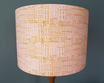 Pink and Golden Brown Terraced Houses Fabric Lampshade,Ceiling Lampshade,Handmade,20cm or 30cm Drum Shade,Lounge,Bedroom,Nursery Decor