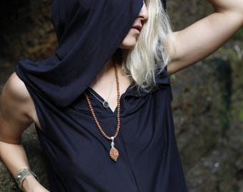 ANGEL ON VACATION black cotton dress - lightweight and soft, Sleeveless unique dress Hooded yoga dress Black hoodie dress Comfy casual dress