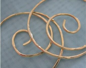 Free Shipping item.  NOTSO MINI . Medium Hoop Earrings .45mm Swirl. Hammered Surface. 18 gauge Solid Brass