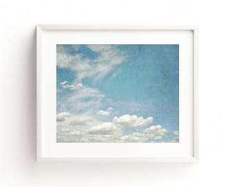 """clouds, cloud wall art, cloud photography, large art, large wall art, blue, sky, nature photography, large art print, art - """"In the Clouds"""""""