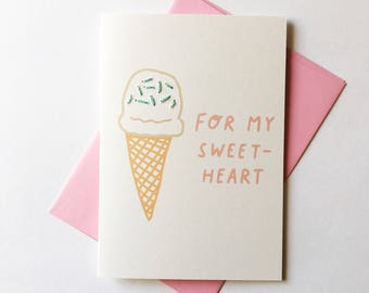 Valentines/Love Card. For My Sweetheart! Ice Cream Illustration / Hand Stitched.