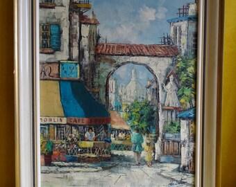 Impressionist painting of street sculpture in Paris