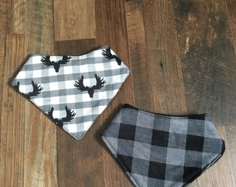 Baby Bandana Bibs | Moose Antler Buffalo Plaid | Black Grey White | Dribble Drool