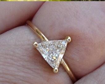 0.64 Carat Unique Trillion Cut Diamond - 14K Yellow Gold - Minimalist Ring by Luxinelle