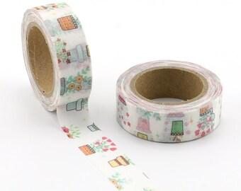 Flower Pots Washi Tape  - Craft Supplies - Scrapbooking - Planner Stickers - Erin Condren - Love My Tapes