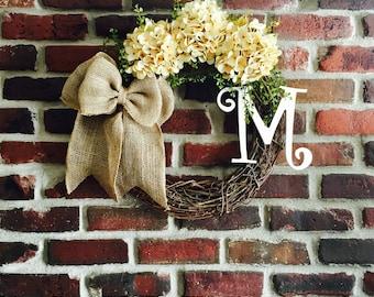 Rustic Hydrangea Wreath-Spring Wreath-Mother's Day Gift-Monogram Wreath-Initial Wreath-Monogrammed Wreath-front Door Wreath-Everyday Wreath