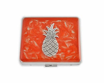Weekly Pill Box Pineapple Inlaid in Hand Painted Orange Enamel Tropical Inspired Personalized and Color Options