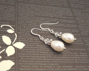 Very Simple and Elegant, Wedding Bridal Sterling Silver Earrings with White Pear Swarovski Pearl and Swarovski Crystal