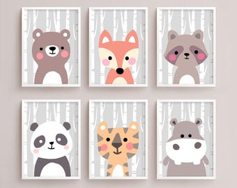 Sale 50% Off - Printable Nursery Art Set of 6 - Bear Fox Raccoon Panda Tiger Hippo ( Baby room decor kids Poster Cute Animal kawaii Woodland