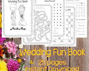 Instant Download Wedding Fun Coloring and Activity Book, Wedding Coloring Book