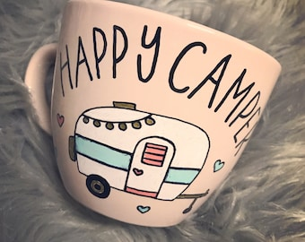 Light pink 16 oz happy camper mug/handpainted/shipped via priority