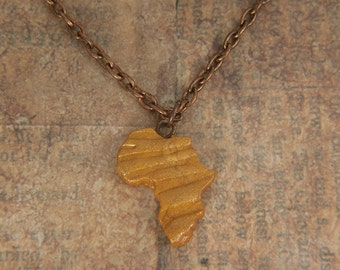 Africa necklace Gold Africa Pendant Adoption necklace  Gold Necklace Sterling Silver 935 in a kraft gift box with an Extra Free Gift.
