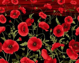 Sunset Poppies Chong-a Hwang Timeless Treasures Fabric Panel
