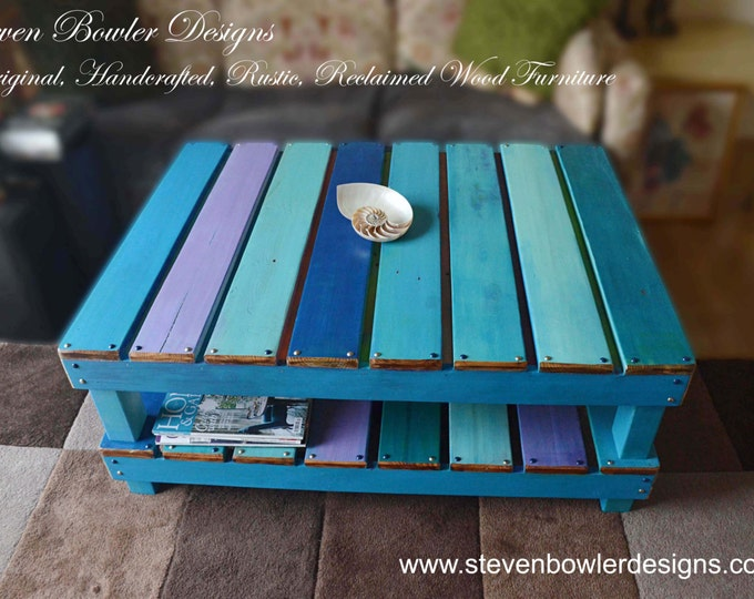 FREE UK SHIPPING Bespoke Nautical Boatwood Style Reclaimed Wood Coffee Table in our Harbor Lights Colour Scheme & Large Undershelf Storage