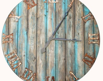 """20/36"""" Oversized wall clock. brown stain with gray and green under and hints of turquoise. distressed to look like reclaimed wood"""
