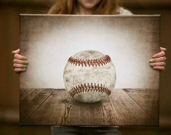 Vintage Single Baseball Photo print on 16x20 Canvas Ready to Hang Wall Decor, Wall Art,  Kids Room, Nursery Ideas