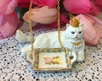 Floral Tea Tray Necklace