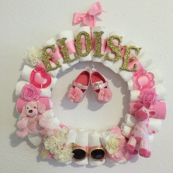 Baby Girl Diaper Wreath Baby Shower Decor Custom Theme Custom